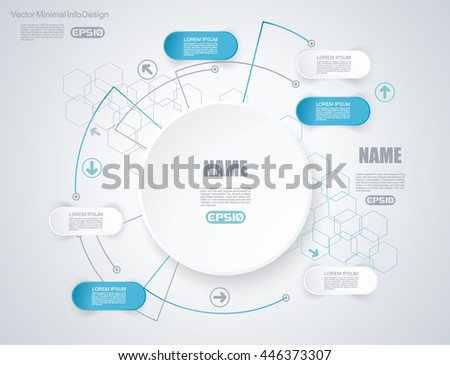 Vector elements for infographic. Template for diagram, graph, presentation and chart on abstract technology background with hexagons.
