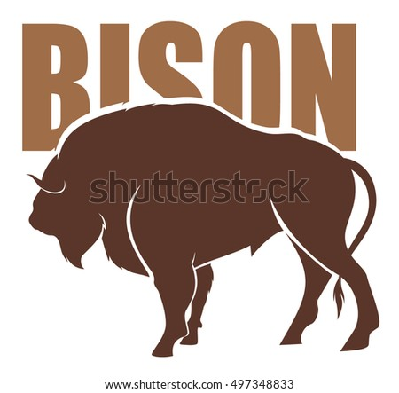 vector emblem of Bison silhouette