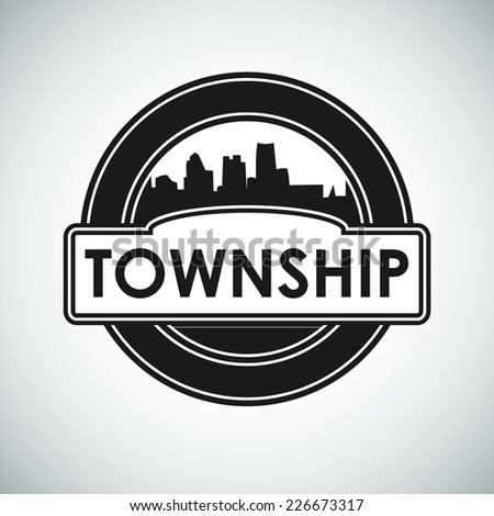 "Vector Emblem with silhouette town and inscription ""township"""