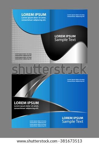 Vector Empty Bi Fold Brochure Print Template Blue Design, Booklet Layout