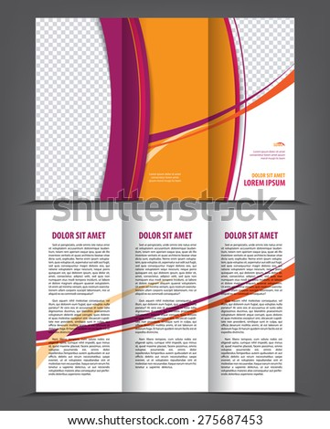 Vector Empty Trifold Brochure Print Template Stock Vector