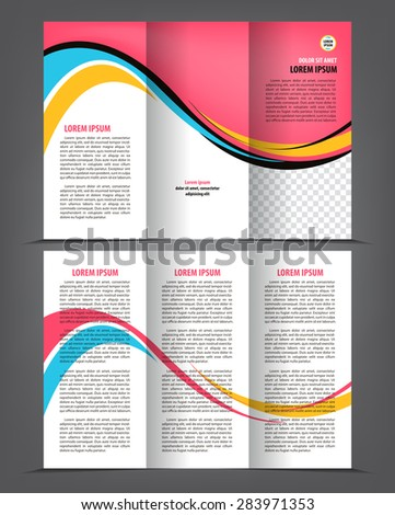 Vector empty trifold brochure template print blank design