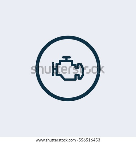 Vector Engine Icon Dashboard Sign Stock Vector - Car image sign of dashboard