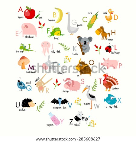 Vector English alphabet with animals