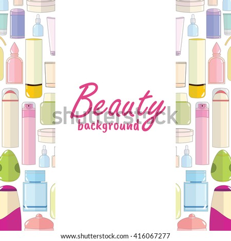 Vector fashion illustration. Beautiful cosmetic, makeup background with place for text, sale, info. Flat cartoon style. Perfect for beauty site, blog or shop. Tender color blue, pink, green, yellow