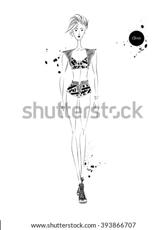 Vector Set Fashion Model Vector Sketch Stock Vector ...