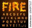 Vector fire flame font caps - stock photo