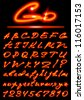 vector fire transparent Alphabet, uppercase and lowercase letters, digits - stock photo