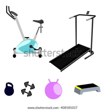 Vector fitness equipment. Exercise bike, cinder-path, weight, weights, step board and fitball. Isolated on white vector fitness equipment.