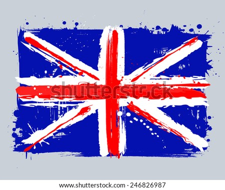 Vector flag of the United Kingdom. EU country. Graffiti in grange style with brush strokes and paint splashes.
