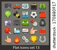 vector flat icon-set 13 - stock vector