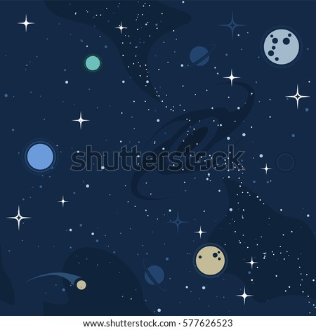 Vector flat space design background text stock vector for Outer space pattern
