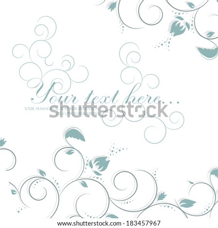 Vector floral background with flower, leaves. Invitation and greeting card. Romantic abstract blue illustration with calligraphic text box for wedding and holiday.