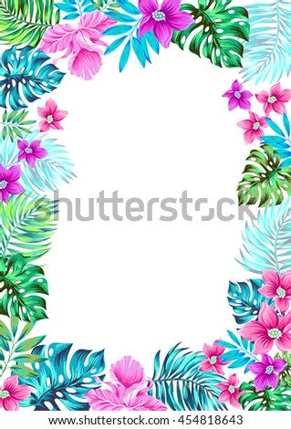 vector floral frame. Aloha botanic design. beautiful tropical banner with place for text.