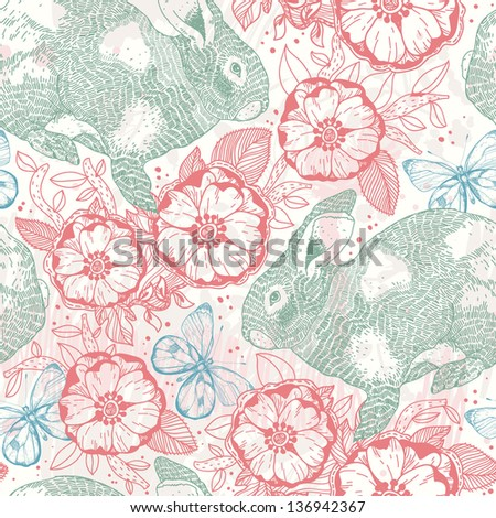 vector floral  seamless pattern with green rabbits, flowers and butterflies