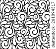 Vector floral seamless pattern with swirl shapes. Black and white background. Decorative illustration for print, web - stock vector