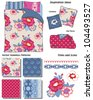 Vector Floral Seamless Patterns.  Great for textile projects or digital paper for scrap booking or website elements such as wallpaper.  Use the interior sketch to create your own look. - stock vector