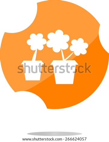 vector Flowerpot with plant - web icon isolated