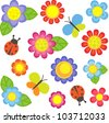 Vector flowers, butterflies and ladybugs - stock vector