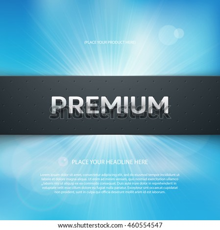 "Vector flyer or banner design template. 3d headline ""Premium"""