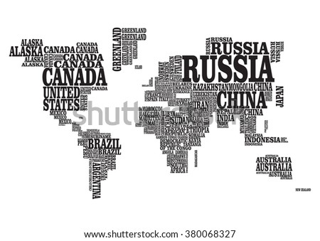 World map countries name text typography stock vector 452118019 vector font world map gumiabroncs Image collections