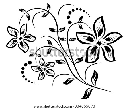 Vector for design flowers and ornament floral