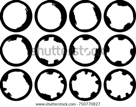 stock vector vector frames circle for image distress texture grunge black borders isolated on the 750770827 White Coffee Cup Vector Illustration Design Graphic Collection Mark Stain Splatter Cup Grunge Coffee Stain Dirty