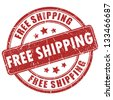 Vector free shipping red stamp - stock photo
