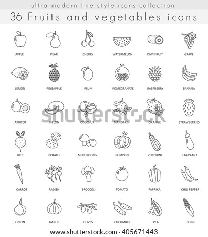 vector fruits and vegetables ultra modern outline line icons for web and apps