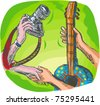 vector full color hand sketched drawing vector illustration showing two hands swapping DSLR camera or photography shoot with guitar or guitar lessons - stock photo