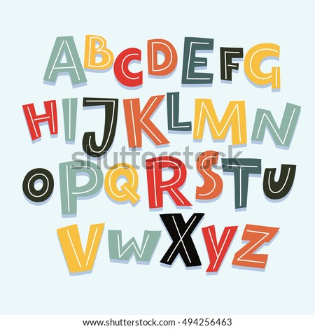 Vector Funny Cartoon Hand Drawn Marker 605667611 on Kindergarten Alphabets