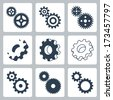 Vector gears, cogwheels icons set - stock vector