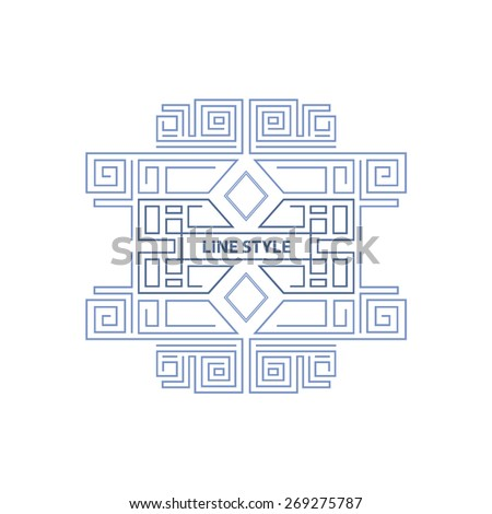 Vector geometric line style frame art stock vector for A style text decoration