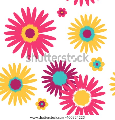 Vector gerbera flower seamless pattern. Texture isolated  background template.