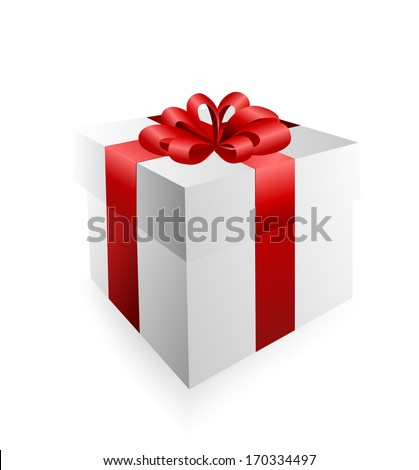 Vector Gift Box With Red Ribbon On A White Background
