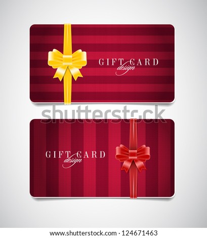 Vector gift card templates with striped fabric backgrounds and silky ribbon bow knots