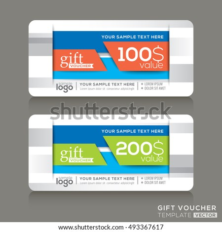 Vector Gift voucher template with abstract colorful modern design background