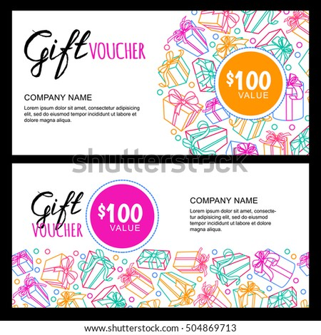 Vector Gift Voucher Template Gift Box Stock Vector