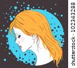 Vector girl face silhouette with red hair on blue-black abstract background - stock vector
