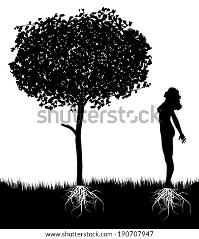 vector girl silhouette  in communion with nature