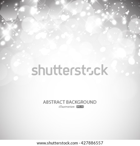 Vector glittery lights silver abstract background.
