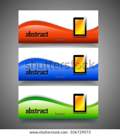 Vector glossy banner with tablet computer
