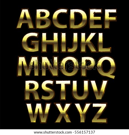 capital yellow metal letters isolated on black background