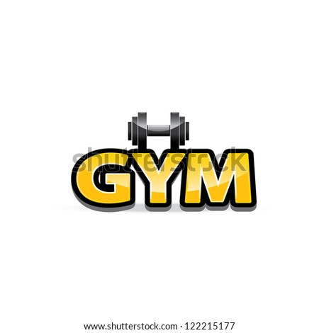 Golden dumbbell icon vector gym icon symbol of sport and fitness