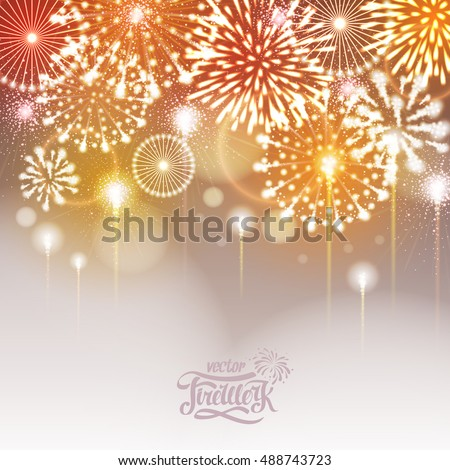 Vector golden holiday fireworks