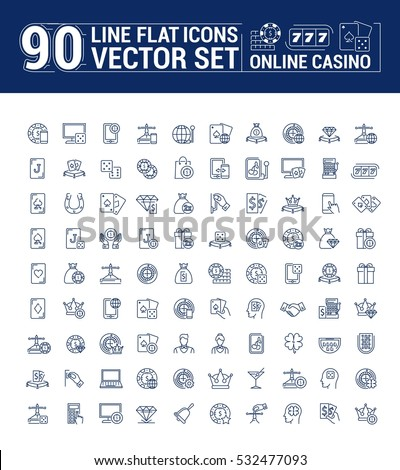 Vector graphic set of icons in flat, contour, and linear design. Internet slot machine. Online casino, gambling and poker.Virtual card game. Paid entertainment. Concept illustration for Web site, app.