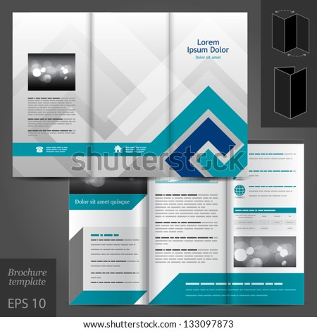 Geometric vector brochure template design black stock for Black brochure template
