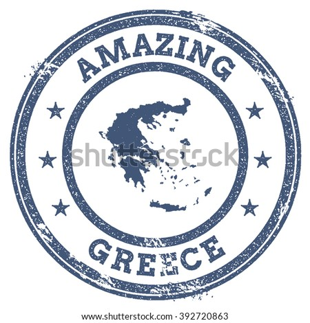 Vector Greece Stamp. Vintage Amazing Greece Stamp with Map Outline. Greece Flag Grunge Round Sticker.