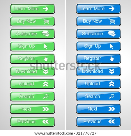 Vector green and blue buttons for website or app. Button - Buy now, Subscribe, Sign Up, Register, Download, Upload, Search, Next, Previous, Learn More