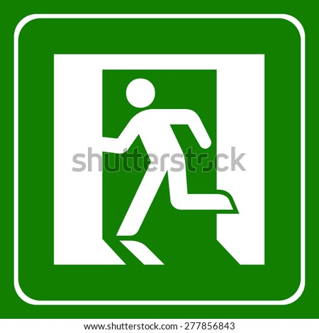 Vector green emergency exit sign on white, Illustration EPS10